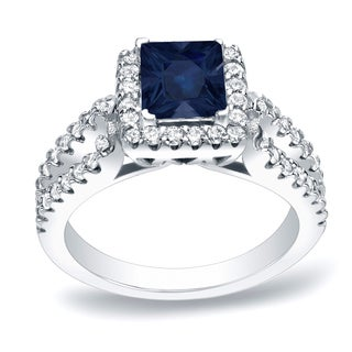 Auriya 14k Gold 1ct Blue Sapphire and 3/4ct TDW Diamond Engagement Ring (H-I, SI1-SI2)