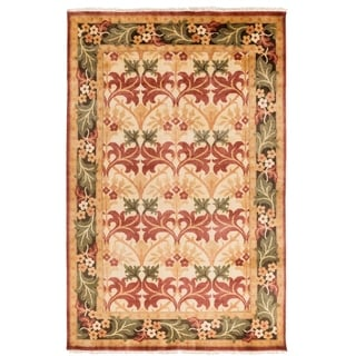 Hand-Knotted Skipton Border Wool Rug (5' x 8')