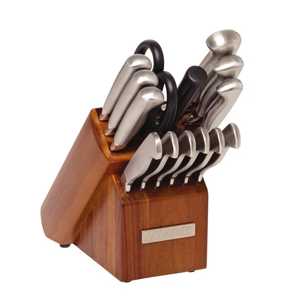Sabatier 15-piece Forged & Triple Rivited Acacia Block Cutlery Set
