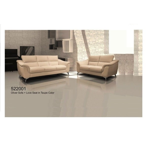 OLIVER SOFA SET LEATHER IN TAUPE COLOR