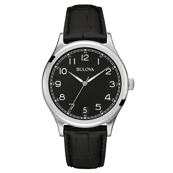 Bulova Men's 96B233 Stainless Steel Black Dial 30M Water Resistance Classic Watch