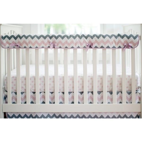 My Baby Sam Chevron Baby Pink Crib Rail Cover