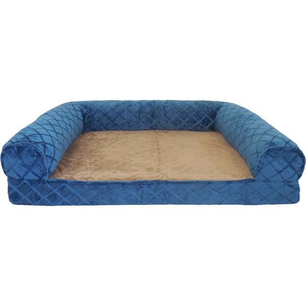 Orthopedic Diamond Embossed Mink Rectangle Bolster Pet Bed
