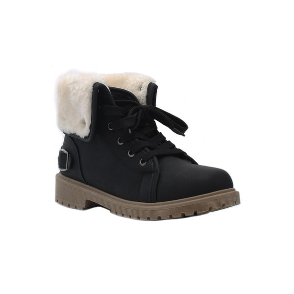 Olivia Miller 'Fulton' Fur Cuff Casual Hiking Boots