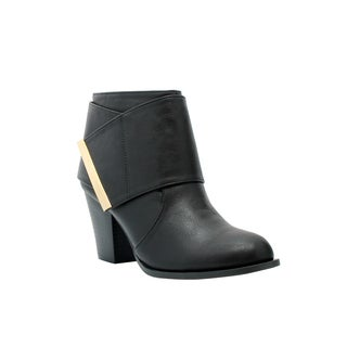 Olivia Miller 'Chrystie' Ankle Wrap Block Heel Booties