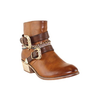 Olivia Miller 'Greenwich' Multi Buckle Chain Ankle Boots