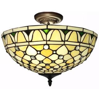 Alvira 2-light Tiffany-style Off-white 16-inch Ceiling Lamp