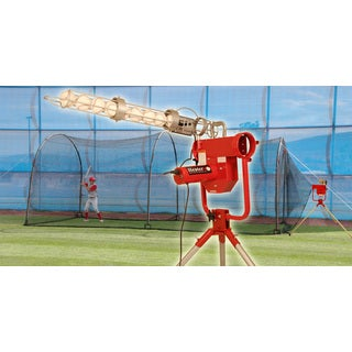 Heater Pro Breaking Ball Baseball Pitching Machine With Auto Ball Feeder & Xtender 24' L x 12' W x 12' H' Batting Cage