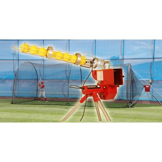 Heater Softball Pitching Machine With Auto Ball Feeder & Xtender 24' L x 12' W x 12' H' Batting Cage / Model HTRSB699