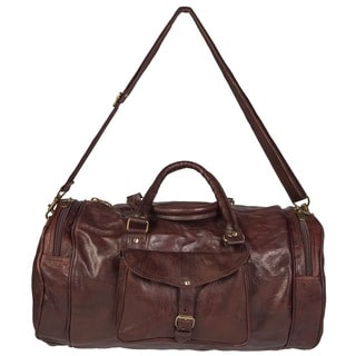 Handcrafted Round Moroccan Leather Duffel Bag