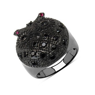 Malaika Black Rhodium-plated Sterling Silver 3/4ct Genuine Black Spinel and Ruby Ring