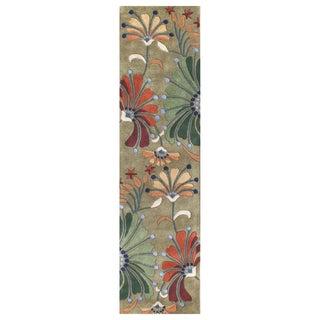 Alliyah Handmade Green New Zealand Blend Wool Rug (3' x 10')