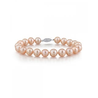 Radiance Pearl 14k Gold AAA-quality Peach Freshwater Pearl Bracelet (9-10mm)
