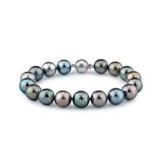 Radiance Pearl 14k Gold AAA-quality Multicolor Tahitian South Sea Pearl Bracelet (10-11mm)