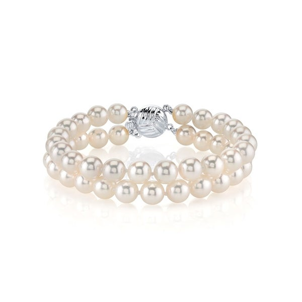 Radiance Pearl 14k Gold AAA-quality White Akoya Pearl Double Strand Bracelet (6.5-7mm)