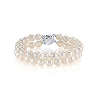 Radiance Pearl 14k Gold AAA-quality White Freshwater Pearl Double Strand Bracelet (7-8mm)