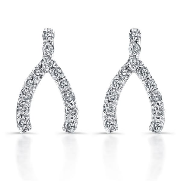 14k White Gold 1/10ct TDW Diamond Wishbone Earrings (J-K, I2-I3)