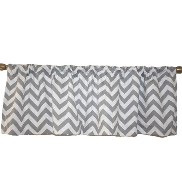 Taylor Marie Grey Chevron Lined Valance