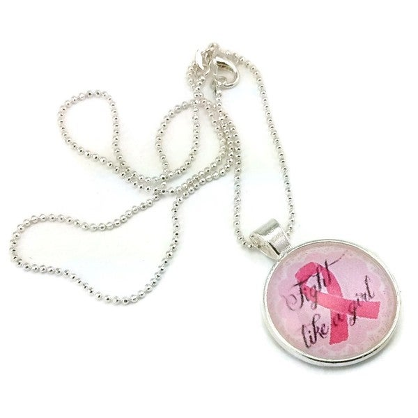 Mama Designs Breast Cancer Awareness Pink Ribbon 'Fight like a Girl' Pendant Necklace