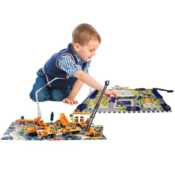DimpleChild Die Cast Vehicles Construction Set and Police Force Vehicle Set (Total of 80 Pieces)