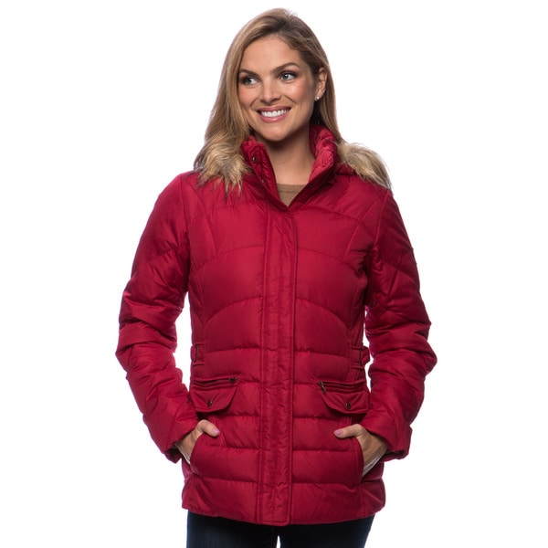 Ladies Down Coat With Removable Faux-Fur Trim Hood