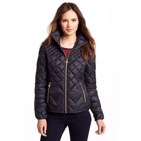 Michael Michael Kors Black Diamond Quilted Packable Jacket Coat