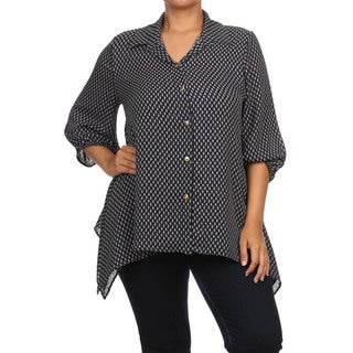 Plus Size 3/4 Sleeves Button Down Shirts
