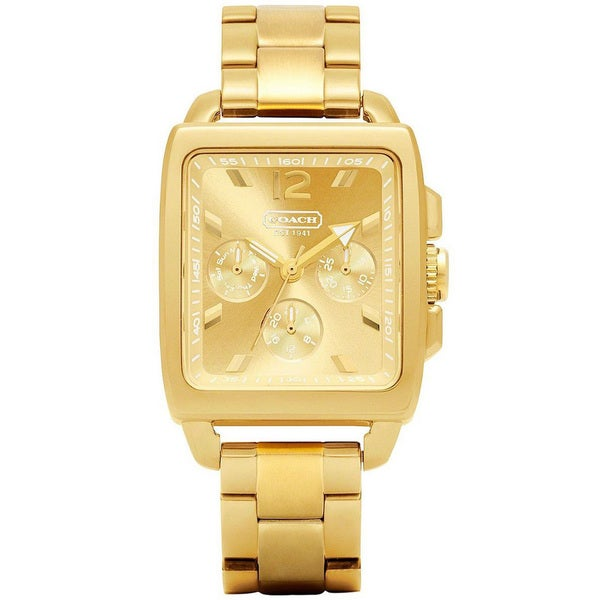 Coach Women's 14501444 Boyfriend Square Goldtone Stainless Steel Bracelet Watch