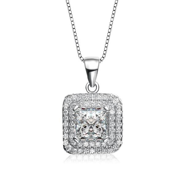 Collette Z Sterling Silver Cubic Zirconia Cushion Halo Necklace