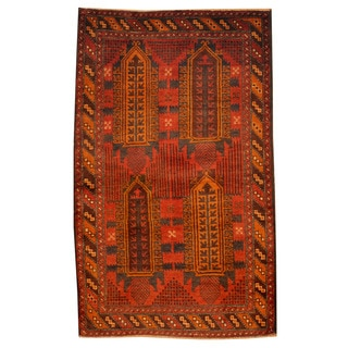 Herat Oriental Afghan Hand-knotted Tribal Balouchi Rust/ Brown Wool Rug (2'9 x 4'7)