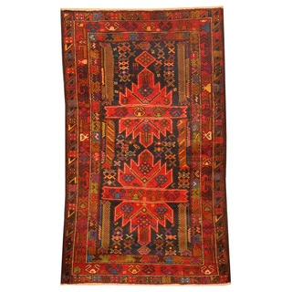 Herat Oriental Afghan Hand-knotted Tribal Balouchi Red/ Navy Wool Rug (2'10 x 4'10)