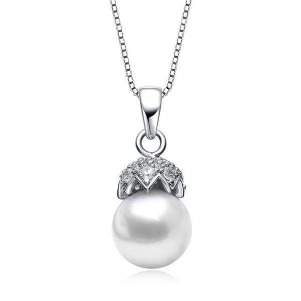 Collette Z Sterling Silver Cubic Zirconia Pearl Necklace