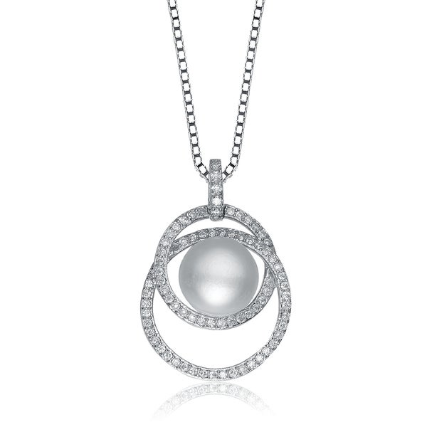 Collette Z Sterling Silver Cubic Zirconia Circle Swirl Pearl Necklace