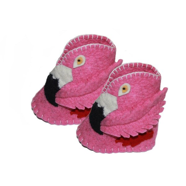 Kid's Flamingo Wool Zooties (Kyrgyzstan)