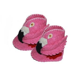Kid's Flamingo Wool Zooties (Kyrgyzstan)