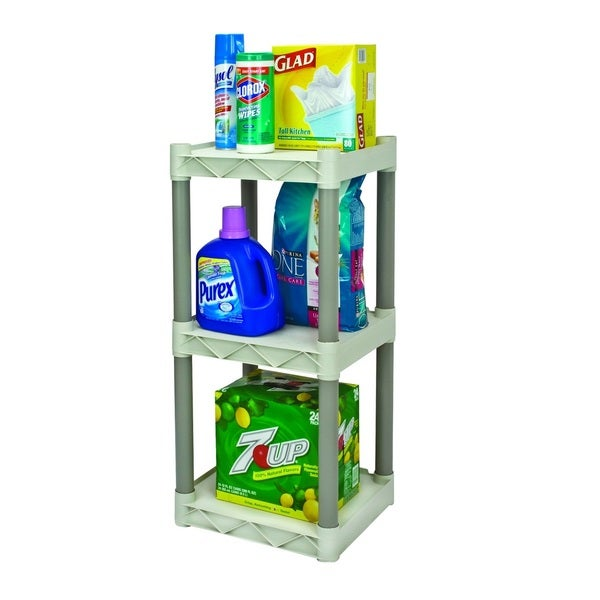 Plano Molding 3 Shelf Shelving Unit with POP Label Tan