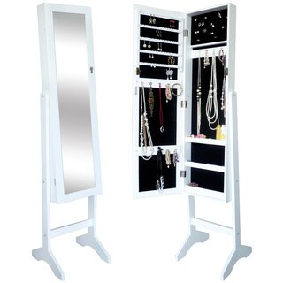 Unique White Jewelry Armiore Floor Standing Cabinet Stand Organizer with Wooden Dressing Cheval Mirror