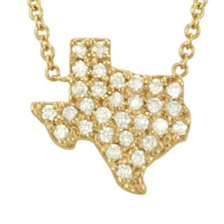 14k Gold 1/4ct TDW Pave Diamond State of Texas Necklace (G-H, SI1-SI2)