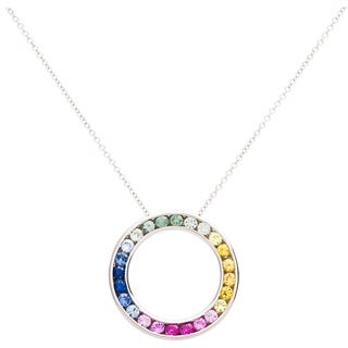 EFFY Final Call 14k White Gold Multi-color Sapphire Open Circle Pendant Necklace