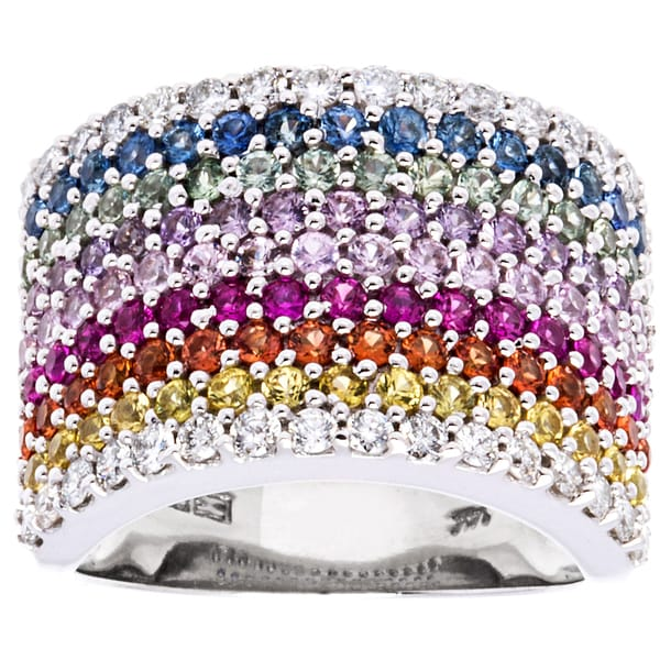 EFFY Final Call 14k White Gold 5/8ct TDW Diamond and Multi-color Sapphire Multi-row Ring (D-E, VVS1-VVS2)