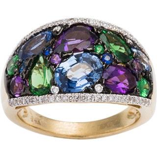 EFFY Final Call 14k Yellow Gold 1/5ct TDW Diamond Sapphire and Tsavorite Ring (D-E, VVS1-VVS2) (Size 6.75)