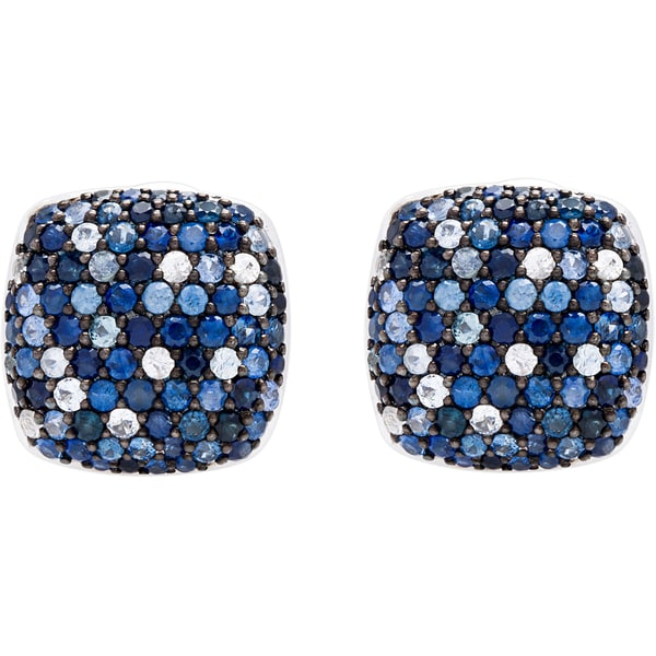 Effy Sterling Silver Sapphire Square Stud Earrings