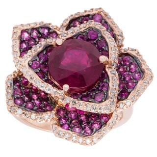 EFFY Final Call 14k Rose Gold 1/2ct TDW Diamond and Ruby Flower Ring (D-E, VVS1-VVS2) (Size 7)