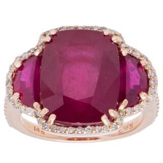 EFFY Final Call 14k Rose Gold 3/8ct TDW Diamond and Glass-filled Ruby Ring (D-E, VVS1-VVS2) (Size 7)