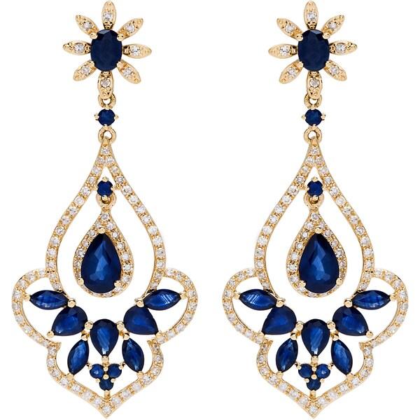 EFFY Final Call 14k Yellow Gold 5/8ct TDW Diamond and Diffused Ceylon Sapphire Earrings (D-E, VVS1-VVS2)