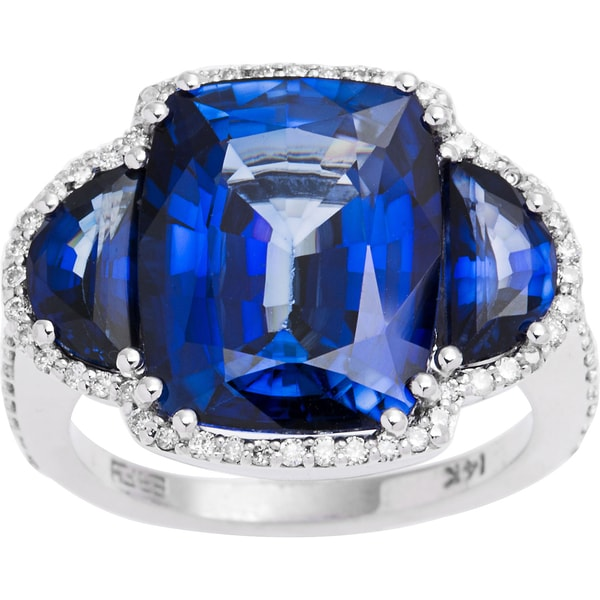 EFFY Final Call 14k White Gold Diamond, Manufactured Diffused Sapphire Ring (Size 7)