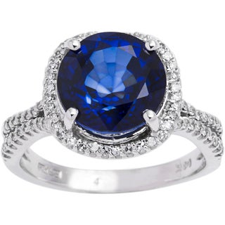 EFFY Final Call 14k White Gold 3/8ct TDW Diamond and Round Diffused Sapphire Ring (D-E, VVS1-VVS2) (Size 7)