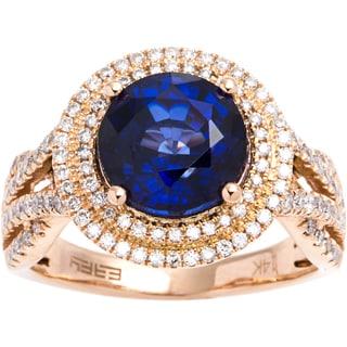 EFFY Final Call 14k Rose Gold 5/8ct TDW Diamond Blue Diffused Sapphire Ring (D-E, VVS1-VVS2) (Size 7)