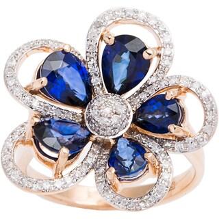 EFFY Final Call 14k Rose Gold 2/5ct TDW Diamond and Sapphire Floral Ring (D-E, VVS1-VVS2)