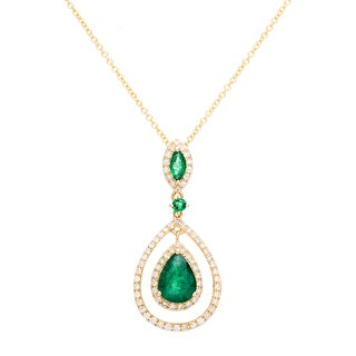 EFFY Final Call 14k Yellow Gold 1/4ct TDW Diamond and Emerald Pendant Necklace (D-E, VVS1-VVS2)